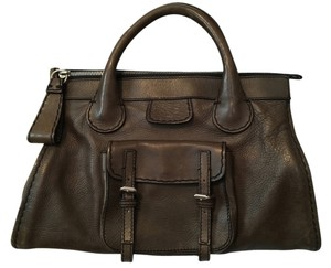 Chloé Edith Leather Silver Hardware Satchel in Olive Green