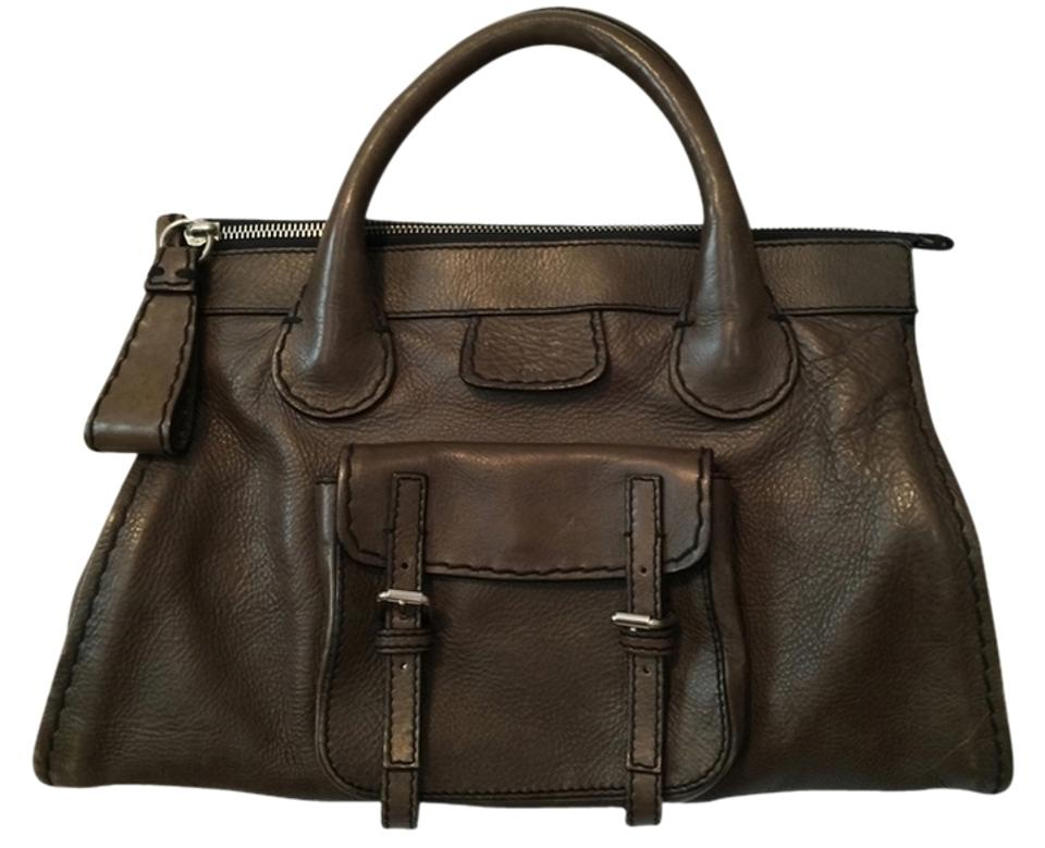 ce204e8eba2c Chloé Edith Leather Silver Hardware Satchel in Olive Green Image 0 ...