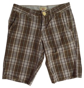 Levi's Bermuda Shorts Brown and Beige Plaid Print