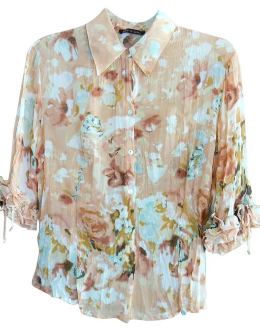 Violet & Claire Button-front 100% Polyester Top Peach