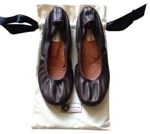 Lanvin Scrunched Leather Ballet Brown Flats