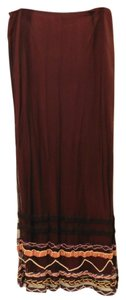 Free People Embroidery Mesh Maxi Skirt Deep Red/Black