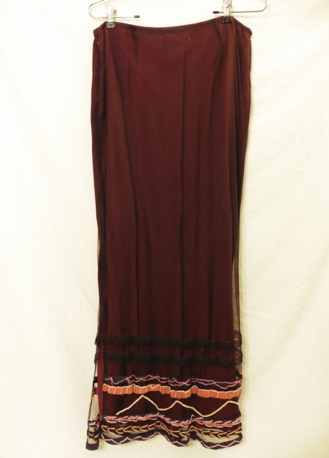 Free People Embroidery Mesh Maxi Skirt Deep Red/Black Image 3