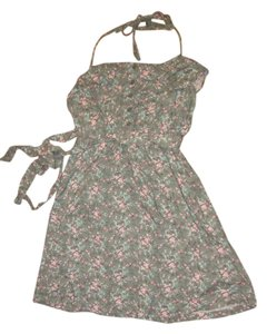short dress Green floral Halter on Tradesy