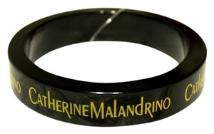 Catherine Malandrino New $150 CATHERINE MALANDRINO Black Resin LOGO Bangle Bracelet