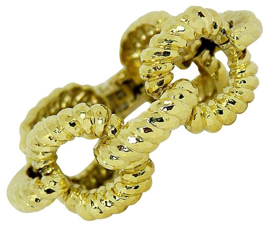 Other Large Gold Open Link Bracelet with Hammered Finish