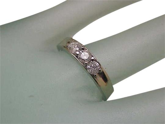 Other Antique .75ct 3-stone Old Mine Cut Diamonds 10k WG Wedding Band Ring