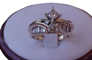 Estate Vintage 14k Yellow Gold .87ct Diamond Wedding Bridal Ring Set