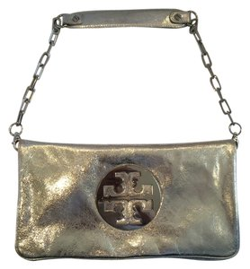 Tory Burch Silver Metallic Clutch
