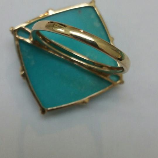Other Vintage Huge Turquoise Diamond 14k Yellow Gold Ring, 1950s
