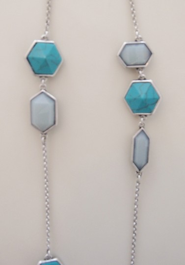 Lucky Brand BRAND NEW! Lucky Brand Silver-tone Turquoise Geometric Necklace