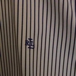 Ralph Lauren Button Down Shirt Blue Pinstripe