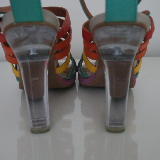 Jeffrey Campbell Rainbow Color Ankle Strap Clear Sandals