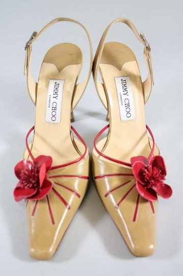 Jimmy Choo Heels Mules Slingback Flower Camellia Red Tan Sandals