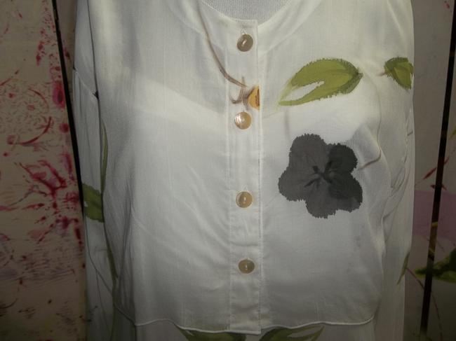 White w/Floral Maxi Dress by Wind River Trading Company Spaghetti Strap Jacket Cover Rayon