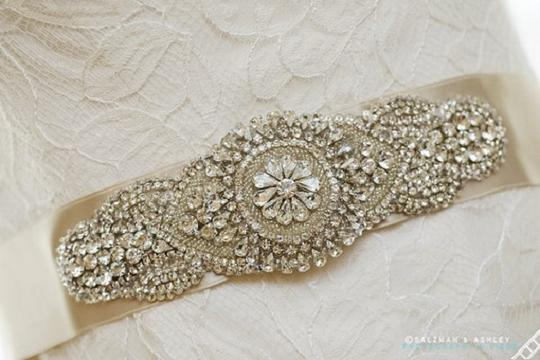 Nadia Wedding Bridal Dress Beaded Embellished Crystal Sash Belt Brooch Applique