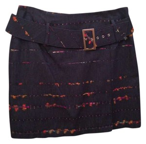Alberto Makali Gold Hardware Denim Detail Art Deco Textured Mini Skirt Blue, Multicolored