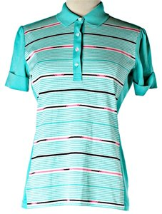Hugo Boss Striped Sporty Polo T Shirt Blue
