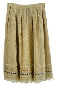 Karen Kane Ribbon Trim Fringe Hem Lined Skirt wheat