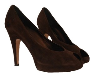 Gianvito Rossi Suede Chocolate Peep Toe Platform Brown Pumps