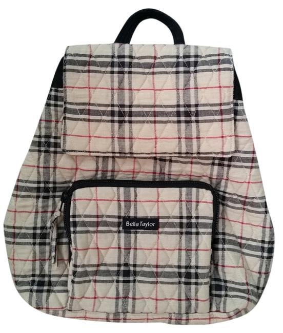 Item - Quilted Tan & Black Plaid Cotton Backpack