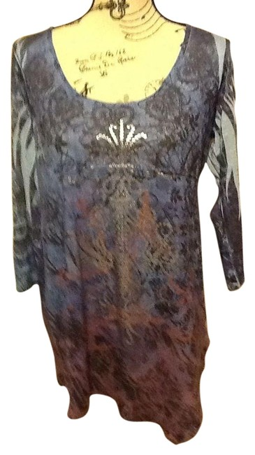 One World Sequins Comfortable 3/4 Sleeves Curved Neckline Metallic Top Blue