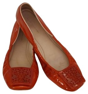 Elie Tahari Patent Leather Orange Flats