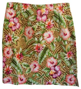 Worthington Skirt Multi Color Floral with Animal Print