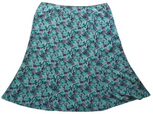 Sag Harbor Skirt Green Blue and White Floral Print