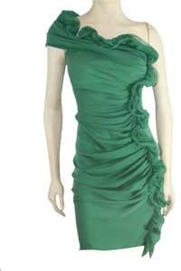 Catherine Malandrino Silk Knit Ruffled Dress