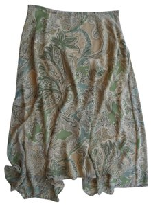 Evan Picone Maxi Skirt Beige and Green Geometric Print