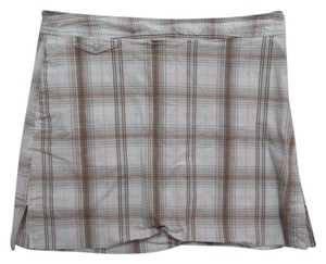 Izod Skort White Brown and Blue Plaid