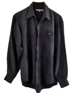 B.R.Limited Silk Hand-washable Button Down Shirt black