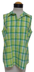 Izod Button Down Shirt Green and White Plaid
