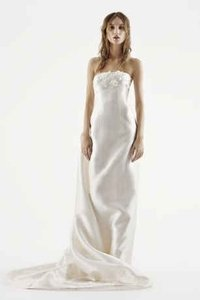 Vera Wang Strapless Mikado Column Gown With 3d Floral Detail Wedding Dress
