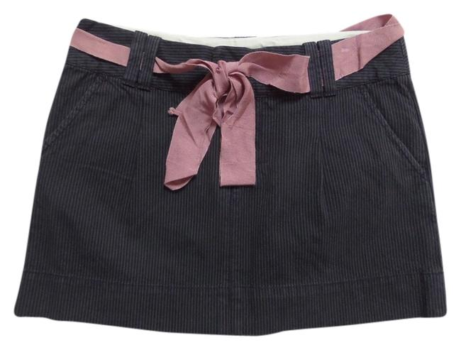 American Eagle Outfitters Mini Skirt Dark Blue with Beige Pinstripe