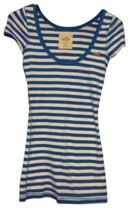 Hollister T Shirt Blue and White Stripes