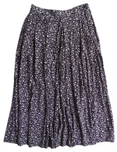 Talbots Maxi Skirt Black and White Floral Print
