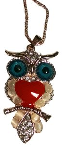 Betsey Johnson Betsey Johnson Owl Pendant Necklace 28 Inch Long Gold J909