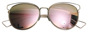 Dior Sideral 2 56mm Round Mirror Lens Sunglasses Pink/Grey Rose Gold Mirror