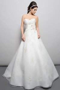 Eden Ivory Organza and Draped Over Taffeta Gl017 Traditional Wedding Dress Size 14 (L)