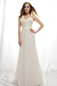 Eden Ivory Luxe Chiffon and Royal Duchess Satin Sl001 Traditional Wedding Dress Size 8 (M)