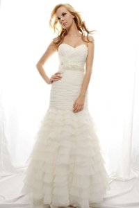 Eden Ivory Crinkle Organza and Tulle Sl012 Traditional Wedding Dress Size 12 (L)