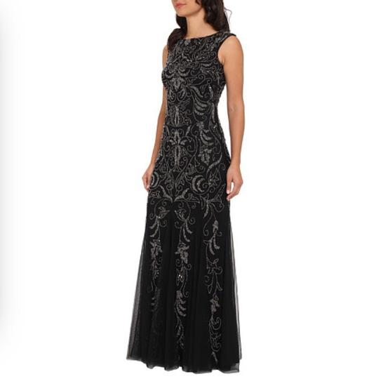 Adrianna Papell Black Tulle & Beading . Bridesmaid/Mob Dress Size 12 (L)