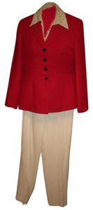 Kasper Red Jacket Jones Blouse Amanda Smith Cream Pants