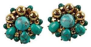 Jose & Maria Barrera Jose & Maria Barrera Turquoise Beaded Clip Earrings