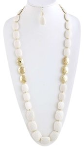 Unknown Long White and Gold Faceted Square Jewel Strand Necklace Set
