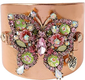Betsey Johnson New! Betsey Johnson Butterfly Leather Cuff Bracelet Rose Gold