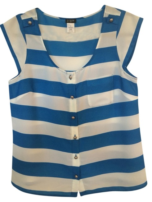 J.Crew Top Blue And White Striped