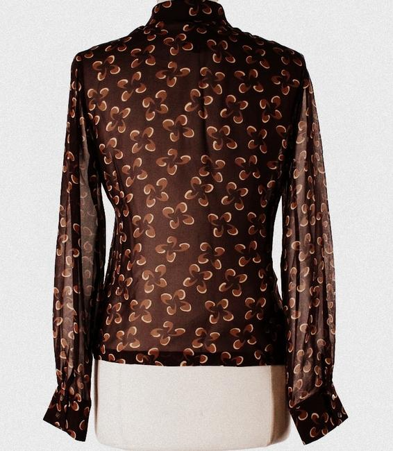Isda & Co. Silk Print Sheer Top Brown